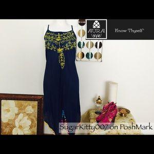 Dresses & Skirts - Pixie Denim Pom Pom Peasant Dress